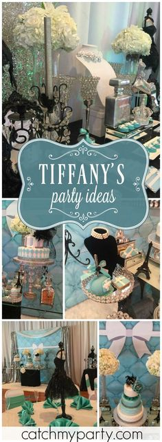 This Tiffany fashion themed teen birthday party is just stunning! See more party ideas at Catchmyparty.com!