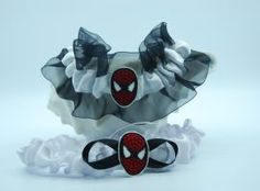 Spider-man themed garter set. Wedding Garters, Garter Set, Spiderman, Heaven, Spider Man, Sky, Heavens, Paradise, Bridal Garters