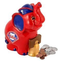 "Philadelphia Phillies Thematic 9"" Resin Elephant Bank"