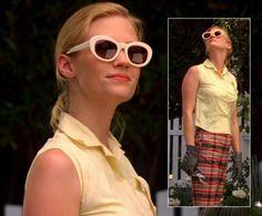 Betty Draper's white sunglasses on Mad Men.  Outfit Details: http://wornontv.net/5657/ #MadMen