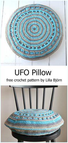 UFO Pillow Crochet Free Pattern - #Crochet; Decorative #Pillow; Free Patterns