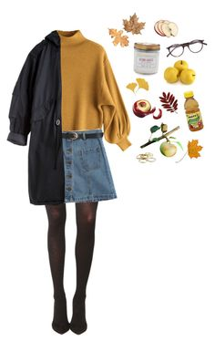 """apple picking"" by plantskid ❤ liked on Polyvore featuring Pretty Polly, Chicnova Fashion, CÉLINE, Kendra Scott and Sur La Table"