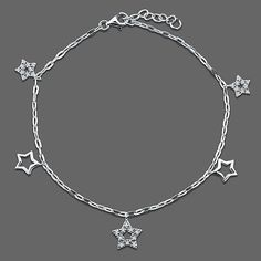 Sterling Silver Anklet Ankle Bracelet Cubic Zirconia CZ Stars Charms from Berricle - Price: $46.99