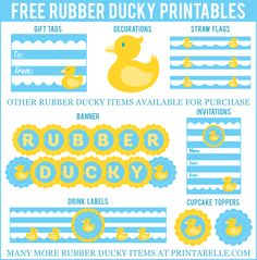 Free Rubber Ducky Baby Shower Printables and more!