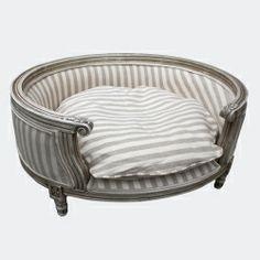 Le Roi Striped Linen Designer Dog Sofa