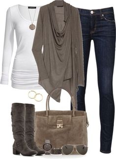 White low neck top, brown sweater, medium wash jeans, dark brown boots, cute brown purse, and other adorable accessories