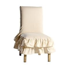 Cotton Tiered Ruffled Dining Chair Slipcover | Overstock.com Shopping - The Best Deals on Chair Slipcovers #furnitureredo