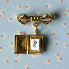 Tiny Little Gold Storybook Locket Brooch by thestorybookrabbit, $30.00