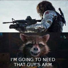 I don't think Rocket should not need The Winter Soldier's arm!