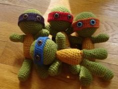 Sandy Summers I thought of you.  I would love a set of these.  Super hero crochet ideas