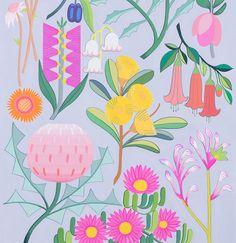 Floral Illustrations, Botanical Illustration, Illustration Art, Australian Native Flowers, Australian Art, Art Prints For Home, Mural Art, Murals, Gouache Painting