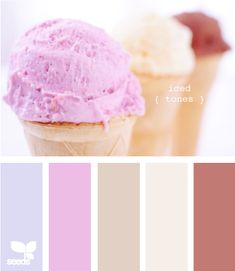 iced tones- purple walls, brown furniture, cream fabrics, purple and blue accents with a piece to tie them all together.