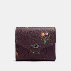 COACH COACH SMALL WALLET WITH CROSS STITCH FLORAL PRINT. #coach #