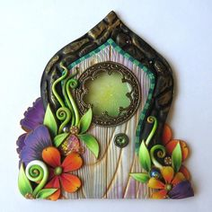 Fairy Door with a Fancy Window Handmade Pixie Portal Miniature