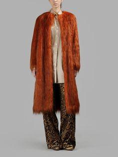 DRIES VAN NOTEN Dries Van Noten Women'S Orange Fake Fur Coat. #driesvannoten #cloth #coats