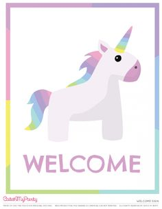 Free Unicorn birthday party Printables for young girls   Welcome sign | CatchMyParty.com