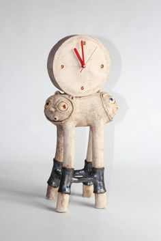Unique clay sculpture - Monster Clock  - art decor quirky eclectic pottery, partly glazed, hand made gift, home decor, (092) by AdamBartCeramics on Etsy