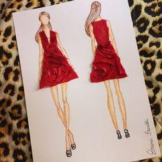 #vestido #flor #atelie #moda #croqui #fashion #atelier #tecido #ilustracao #desenho #red #Vermelho