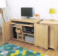 aston oak hidden home office home office pc desks office aston solid oak wall mirror