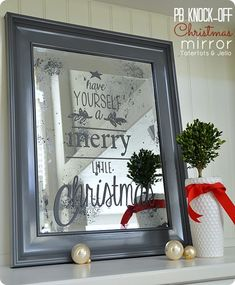 PB Knock Off Antiqued Christmas Mirror with Text