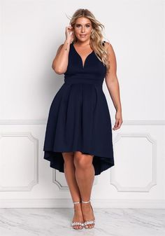 Plus Size Clothing | Plus Size Deep V Flared Hi-Lo Dress | Debshops