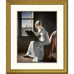 Global Gallery 'Young Woman Drawing 1801' by Marie Denise Villers Framed Graphic Art Size: