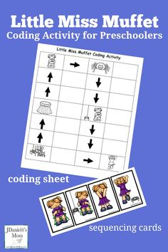 Little Miss Muffet Coding Activity for Preschoolers - This is a fun way to teach kids how to build an algorithm and sequence events.