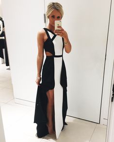 Formal, elegant black and white dress for sorority or prom event Instagram: @SheaLeighMills