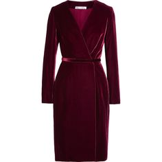 Oscar de la Renta Velvet wrap dress ($1,910) ❤ liked on Polyvore featuring dresses, burgundy, slimming dresses, oscar de la renta dresses, slim fit dress, purple dress and wrap dress