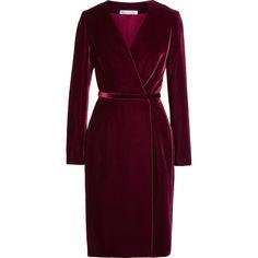 Oscar de la Renta Velvet wrap dress ($1,910) ❤ liked on Polyvore featuring…