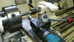 Drilling angle holes on a lathe. Nice toolpost drill setup.