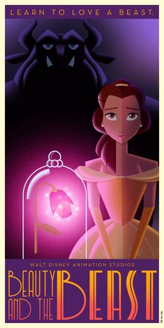 Beauty and the Beast poster in Art Déco retro style.