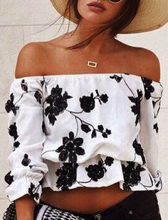 b&w floral blouse