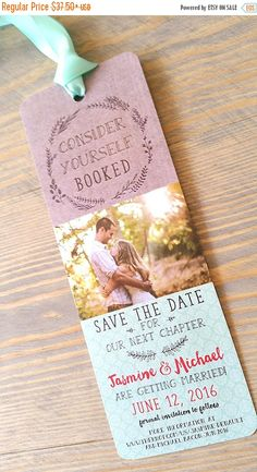 WEEKEND ONLY SALE save the date bookmark save by RaspberryCreative