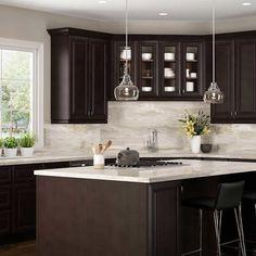 Dark Brown Kitchen Cabinets, Kitchen Cabinet Color Schemes, Stained Kitchen Cabinets, Backsplash With Dark Cabinets, Dark Wood Kitchens, Brown Kitchens, Home Kitchens, Bath Cabinets, Expresso Cabinets