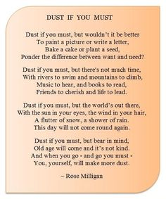 dust if you must poem - Yahoo Search Results