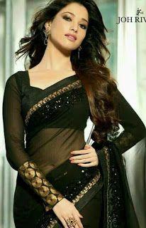 Saree: Indian actor Tamanna Bhatia in a black Saree Indian Bollywood Actress, Bollywood Actress Hot Photos, Bollywood Celebrities, Indian Actresses, Bollywood Saree, Stylish Sarees, Trendy Sarees, Fancy Sarees, Stylish Dresses