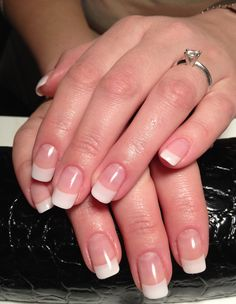 natural looking acrylic nails. Not too long, not too square. Perfect.