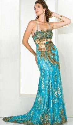Proud As A Peacock Long Dress