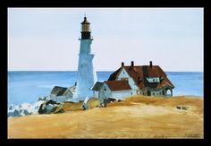 'Portland Lighthouse' by Edward Hopper Framed Painting Print