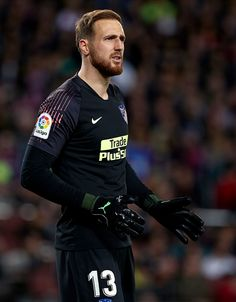 Jan Oblak of Club Atletico de Madrid during the La Liga match between FC Barcelona and Club Atletico de Madrid at Camp Nou on April 2019 in Barcelona, Spain. Fc Porto, Sports Images, Camp Nou, Goalkeeper, Breaking Bad, Football Soccer, Fc Barcelona, Running, The League