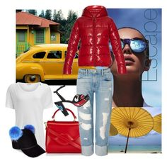 """""""Caribbean blues. Winter escape. Let's get away."""" by obsessedaboutstyle on Polyvore featuring Le Specs, Lulu Guinness, James Perse, Frame Denim, Sonia Rykiel, Charlotte Simone and Duvetica"""