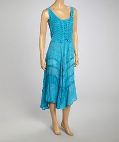 Look what I found on #zulily! Turquoise Lace-Up Sleeveless Dress #zulilyfinds