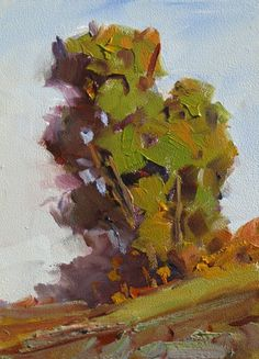 TREE, HILLS, CALIFORNIA IMPRESSIONIST 5x7 OIL PAINTING by TOM BROWN -- Tom Brown