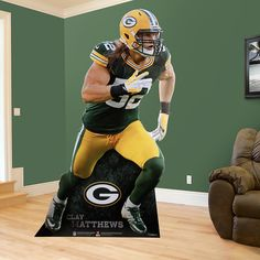 NFL Football | If you're looking for the right Green Bay Packers gift, Fathead has an amazing, life-size present that is brighter and more durable than any cardboard cutout, or life-size standup. SHOP http://www.fathead.com/nfl/green-bay-packers/clay-matthews-stand-out-life-size-cut-out/ | DIY Bedroom Decor for Boys + Girls | Custom Decals | Peel & Stick | Man Cave