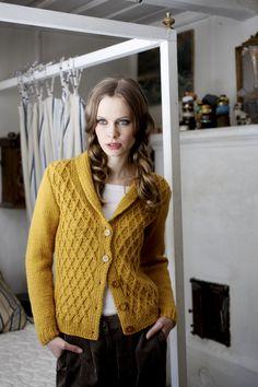 novita knit cardigan in mustard yellow, cable knit