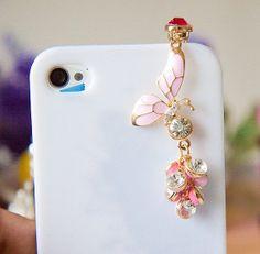 1PC butterfly dust plug charm, headphone plug,tiffany rhinestone earphone plug Apple iPhone 4/4s iphone 5 case ear jack plug dust plug 3.5mm