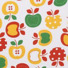 beautiful colourful apples fabric white Robert Kaufman 1