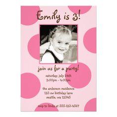 Pink Polka Dots Birthday Girl Photo Announcement