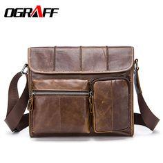 OGRAFF Genuine leather bag men crossbody bag briefcases large capacity men messenger bags 2017 classic business vintage men bag